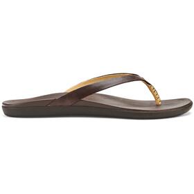 OluKai Ho'opio Leather Sandals Women dark java/dark java